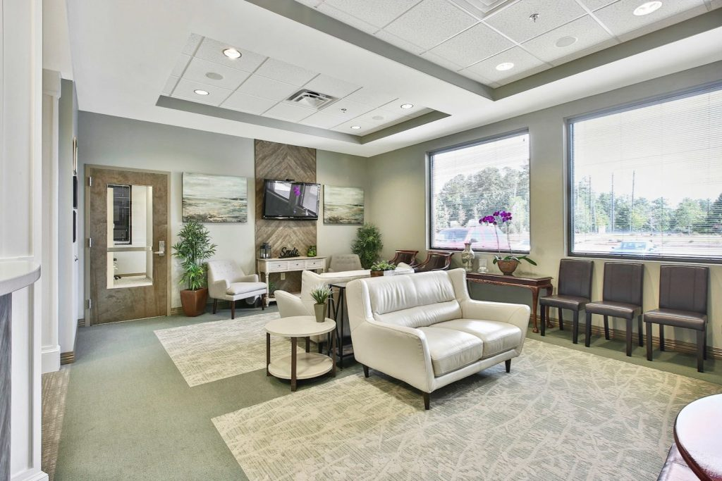 Interior view of lobby in Dave Lee Dentistry office in Fayetteville, GA.