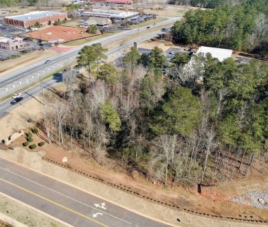 Aerial view of land for sale on Timberbrook Drive, Sharpsburg, GA.