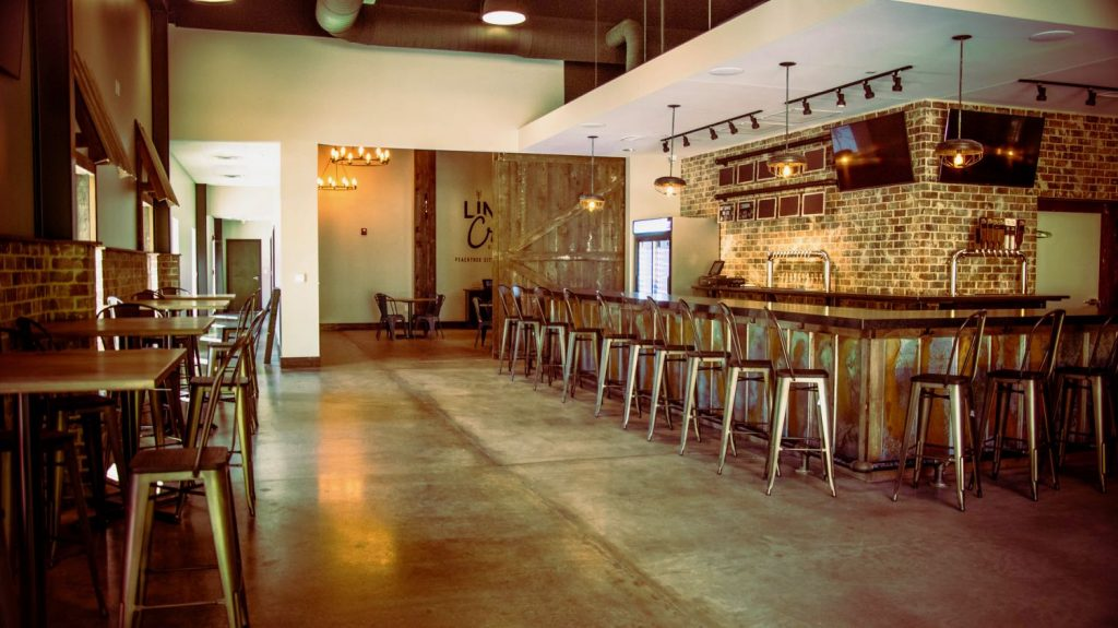 View of Line Creek Brewing Company taproom in Peachtree City, GA.
