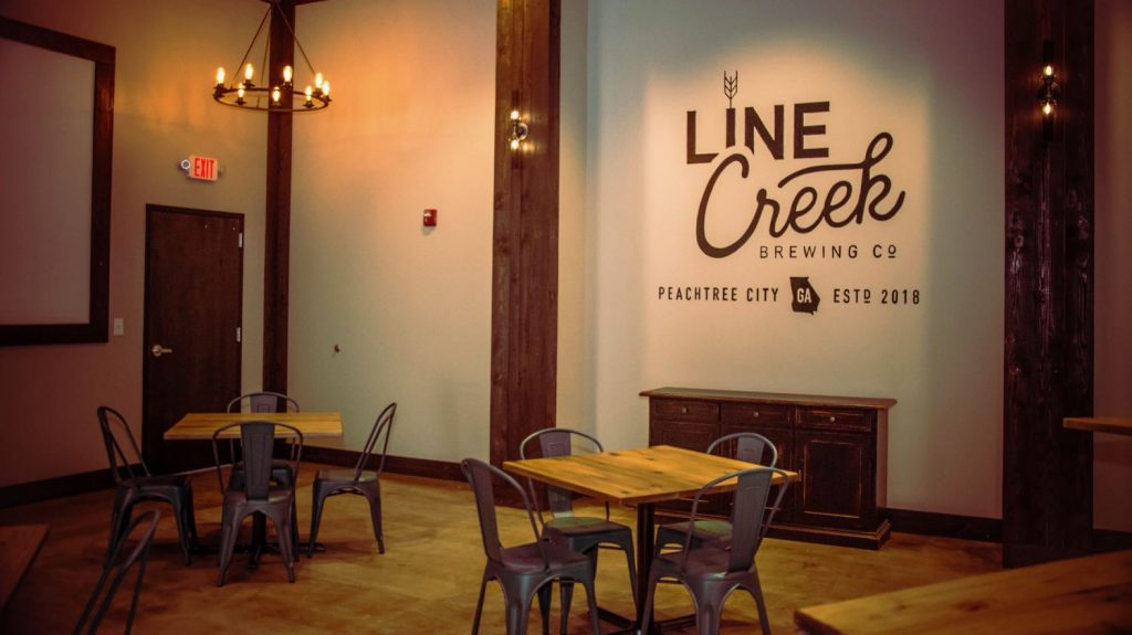 View of interior meeting area in Line Creek Brewing Company in Peachtree City, GA.