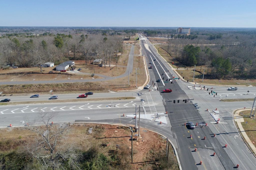 Aerial view of three land tracts for sale at Poplar Road and Newnan Crossing Bypass in Newnan, GA.