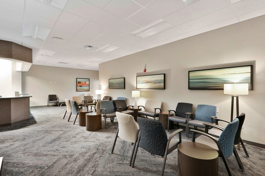 Interior view of waiting room in Takle Eye Surgery Center in Locust Grove, GA.