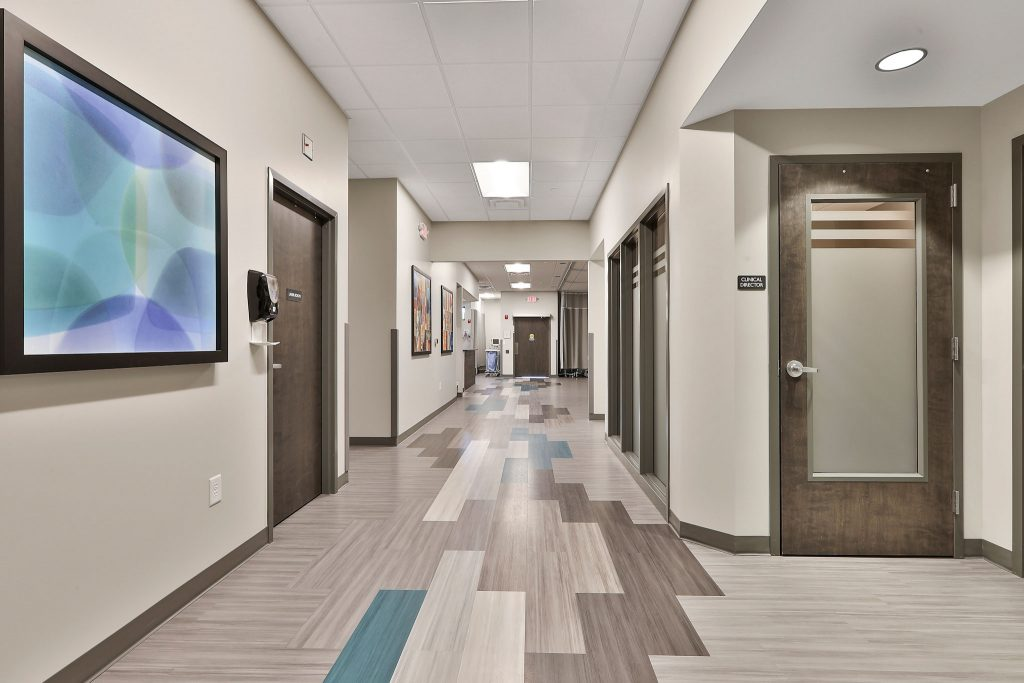 Interior view of hallway in Takle Eye Surgery Center in Locust Grove, GA.