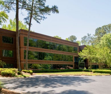 Exterior front side view of the Brookside building for 200 Westpark Drive, Peachtree City, GA.
