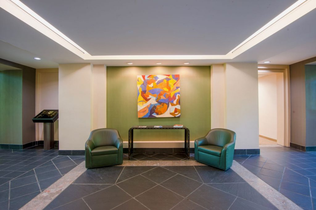 Interior lobby of the Brookside building for 200 Westpark Drive, Peachtree City, GA.