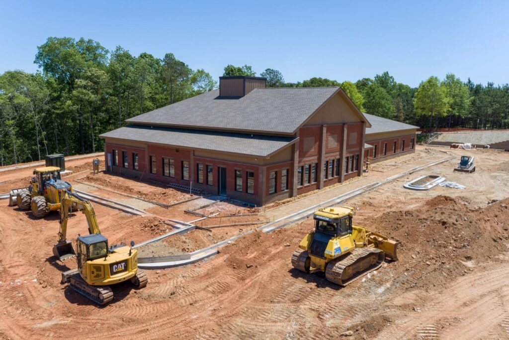 Aerial view of construction for 2153 Newnan Crossing Blvd medical office building in Newnan, GA.