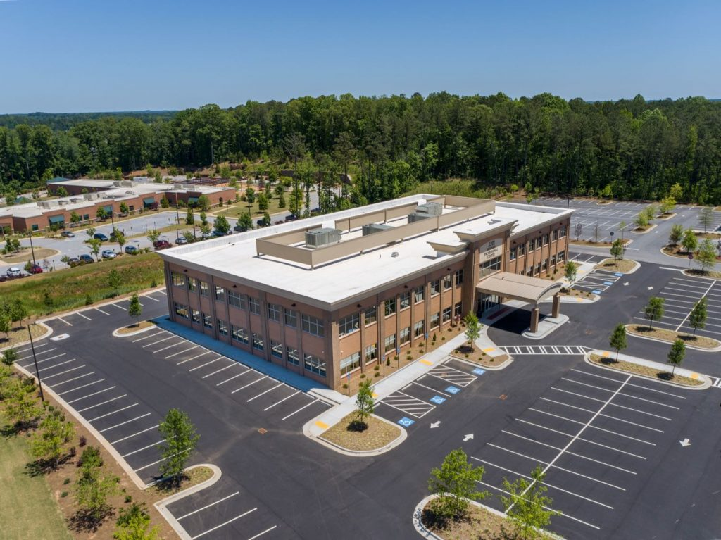 Exterior aerial side view for 2201 Newnan Crossing Blvd medical office building in Newnan, GA.