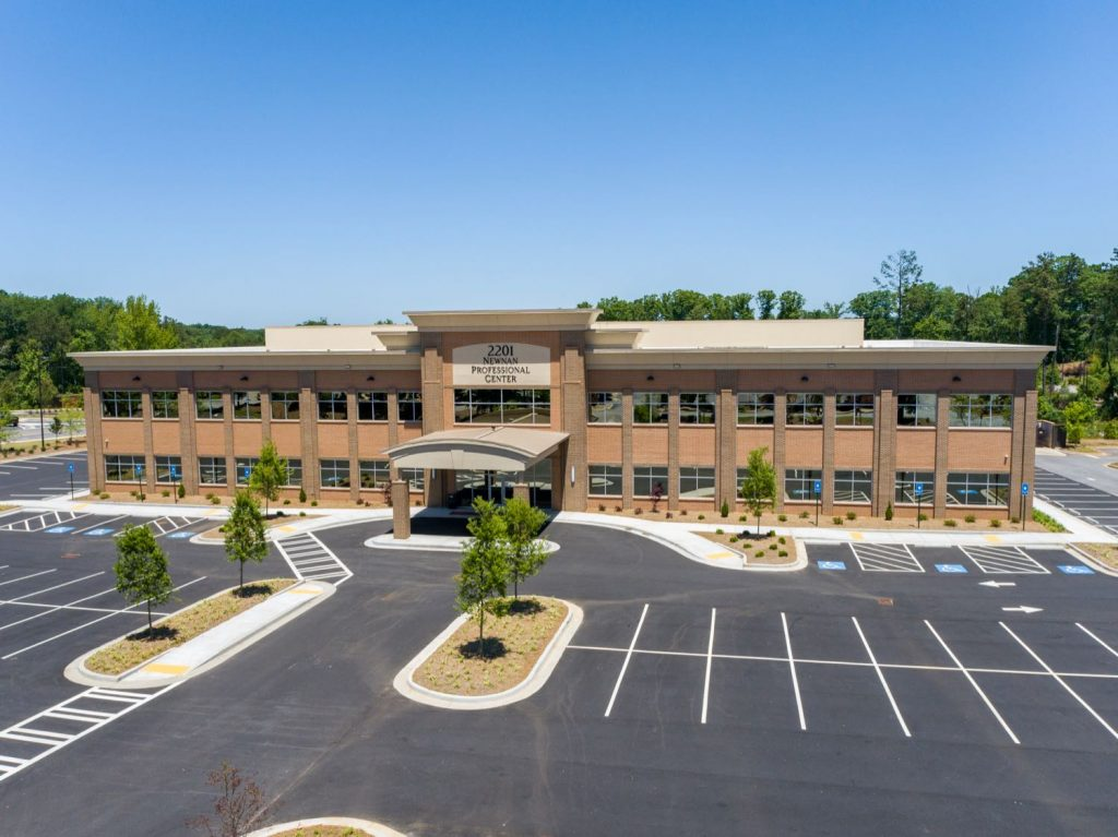 Exterior aerial front view for 2201 Newnan Crossing Blvd medical office building in Newnan, GA.