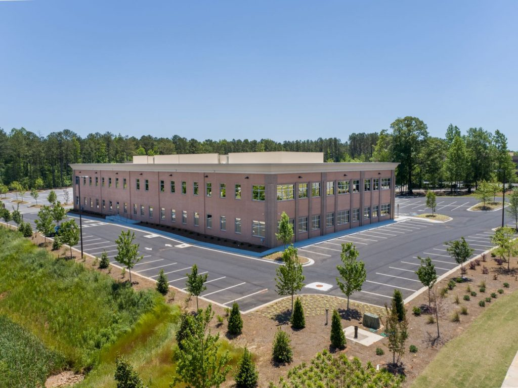 Aerial backside view of building for 2201 Newnan Crossing Blvd medical office building in Newnan, GA.