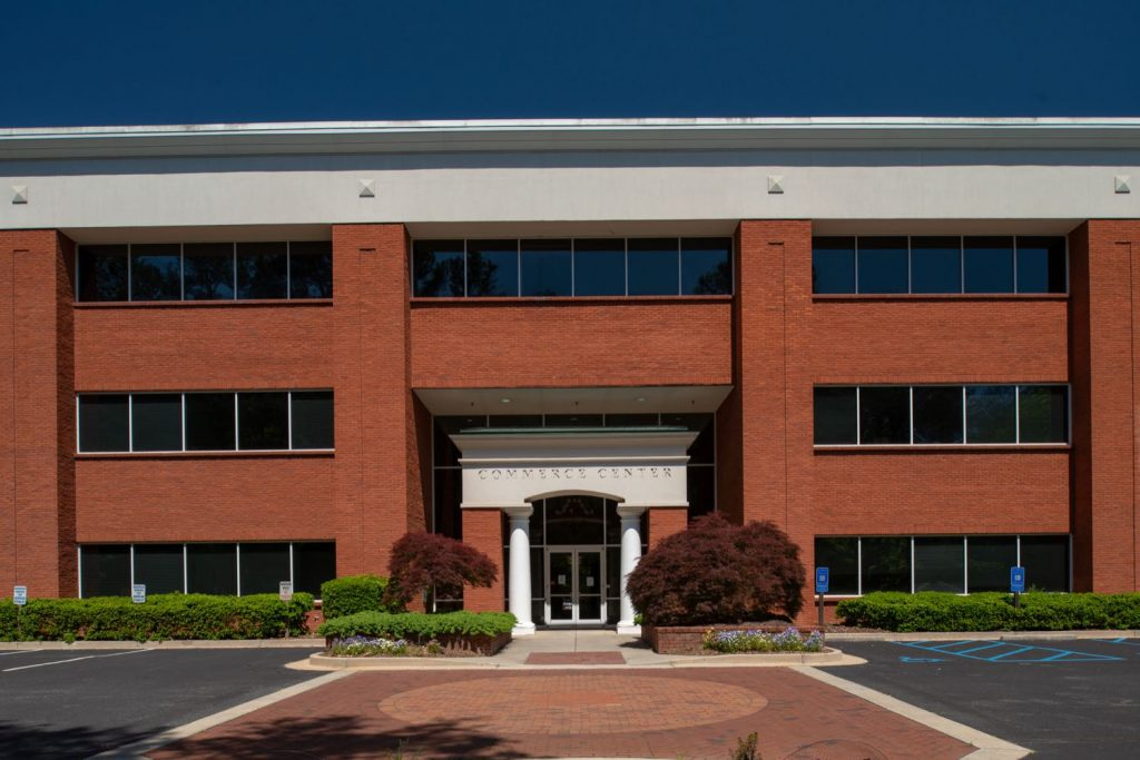Front view of 500 Westpark Drive office building in Westpark Commercial Center in Peachtree City, GA.