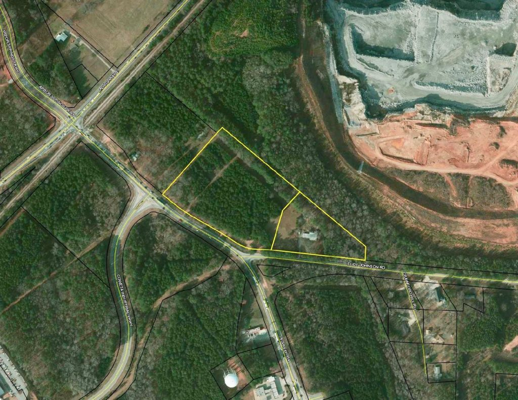Aerial view of Tract A and B, 12.2 Acres, off Hwy 154 and Elzie Johnson Rd in Newnan, GA.