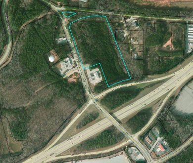 Aerial view of property line for 14.5 acre tract in Newnan, GA. on Sharpsburg McCollum Road in