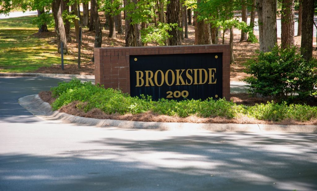 Sign marquee at the entrance of the Brookside building for 200 Westpark Drive, Peachtree City, GA.