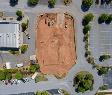 Overhead aerial view of construction for dental office in Lexington Park, Peachtree City, GA.