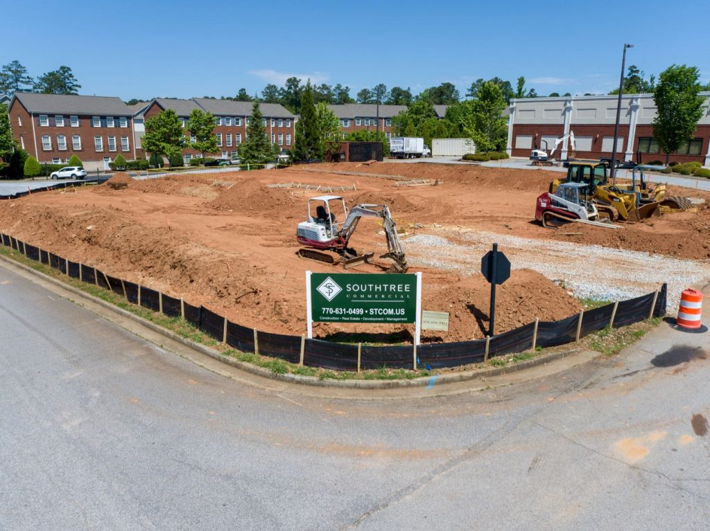 Grading and preparing site construction for dental office in Lexington Park, Peachtree City, GA.