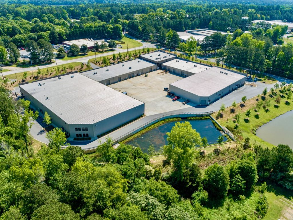 Aerial exterior view of Paschall Business Center in Peachtree City, GA.