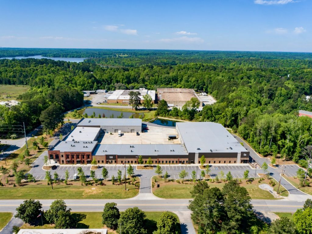 Aerial front view of Paschall Business Center in Peachtree City, GA.