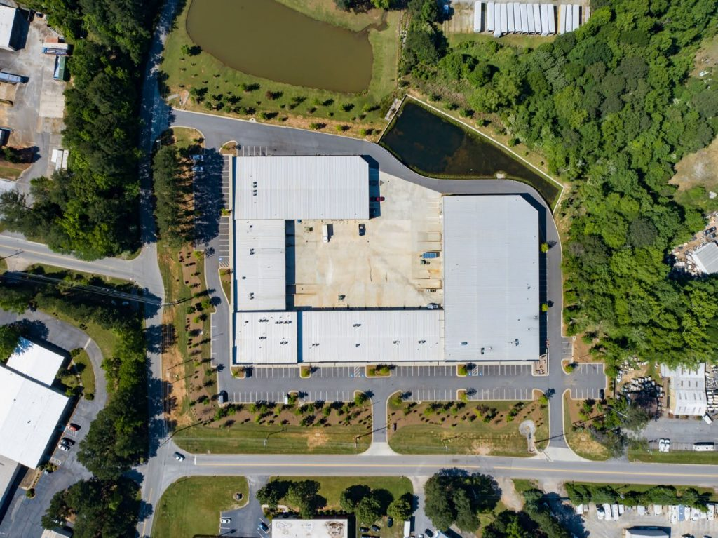 Aerial overhead view of Paschall Business Center in Peachtree City, GA.