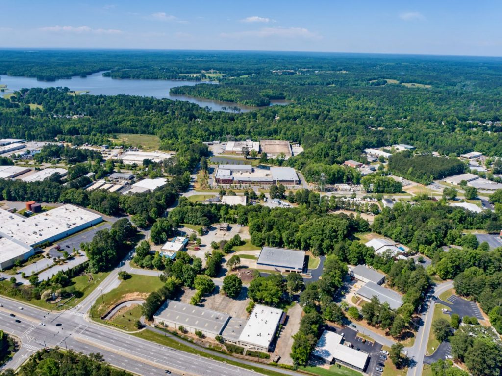 Aerial zoomed out view of Paschall Business Center in Peachtree City, GA.