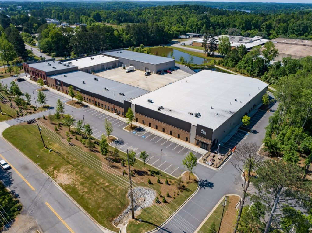 Aerial exterior side view of Paschall Business Center in Peachtree City, GA.