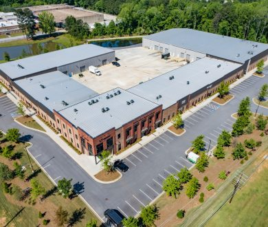 Aerial exterior front view of Paschall Business Center in Peachtree City, GA.