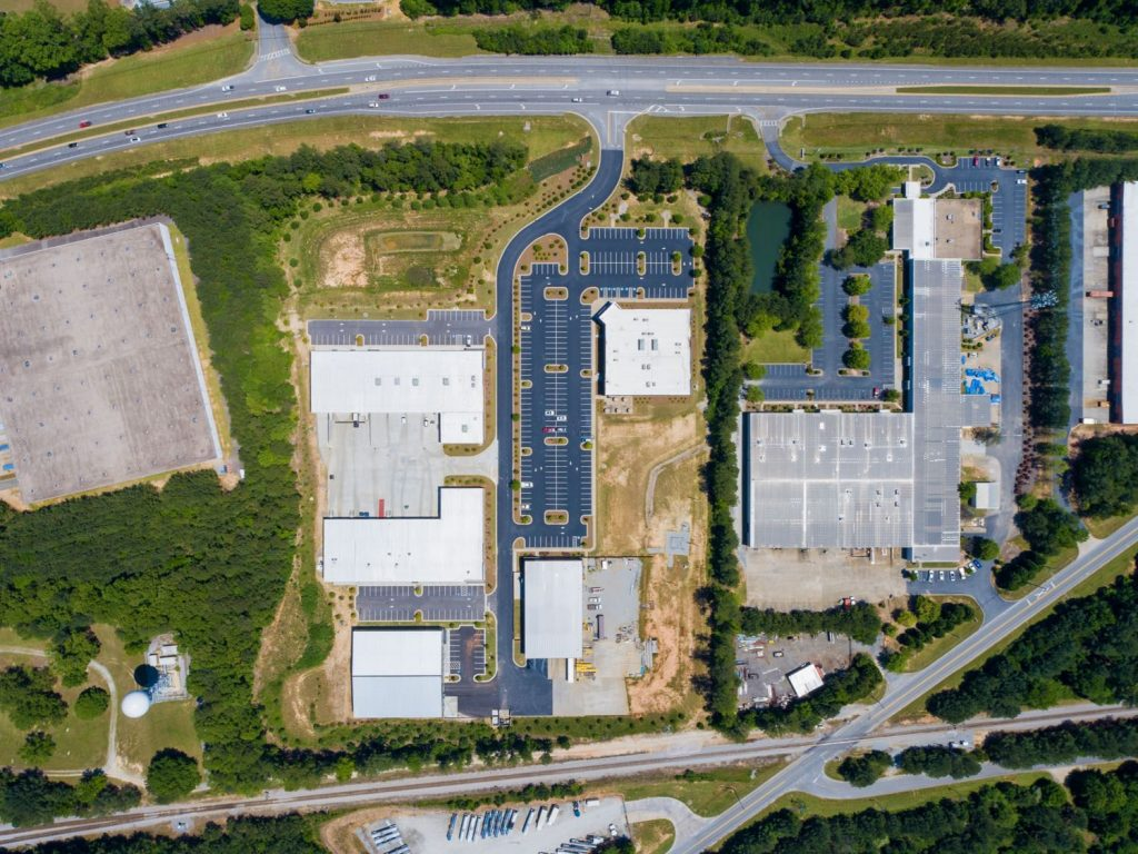 Aerial view of the top of the buildings in the South 74 Industrial Office complex in Peachtree City, GA.