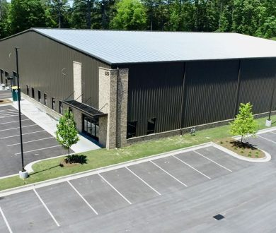 Exterior aerial view of industrial building for Alo Farms of Georgia Greenhouse #3 in Peachtree City, GA.