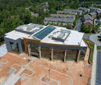 Aerial construction overhead view of SMC3 Atlanta Headquarters in Lexington Park in Peachtree City, GA.