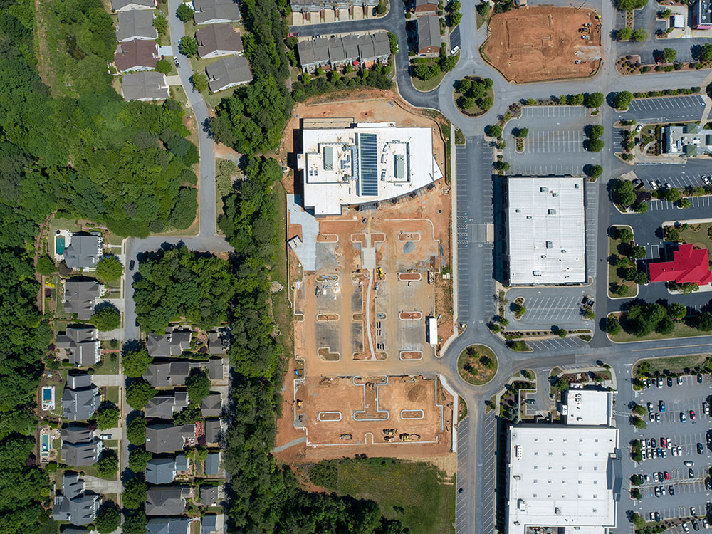 Aerial overhead view of SMC3 Atlanta Headquarters building in Peachtree City, GA.