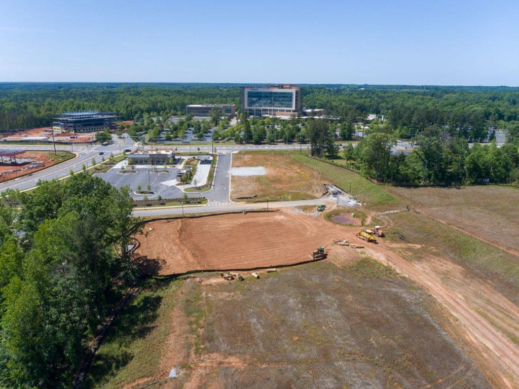 Aerial view of land for Mercantile Professional Park facing Piedmont Newnan Hospital in Newnan, GA.