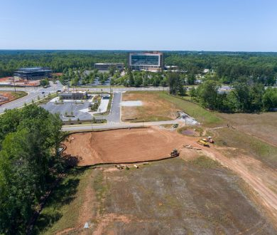Aerial view of land for Mercantile Professional Park facing Piedmont Newnan Hospital in Newnan, GA.