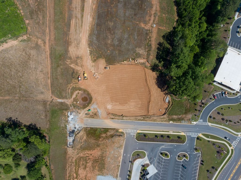 Aerial overhead view of land for Mercantile Professional Park in Newnan, GA.