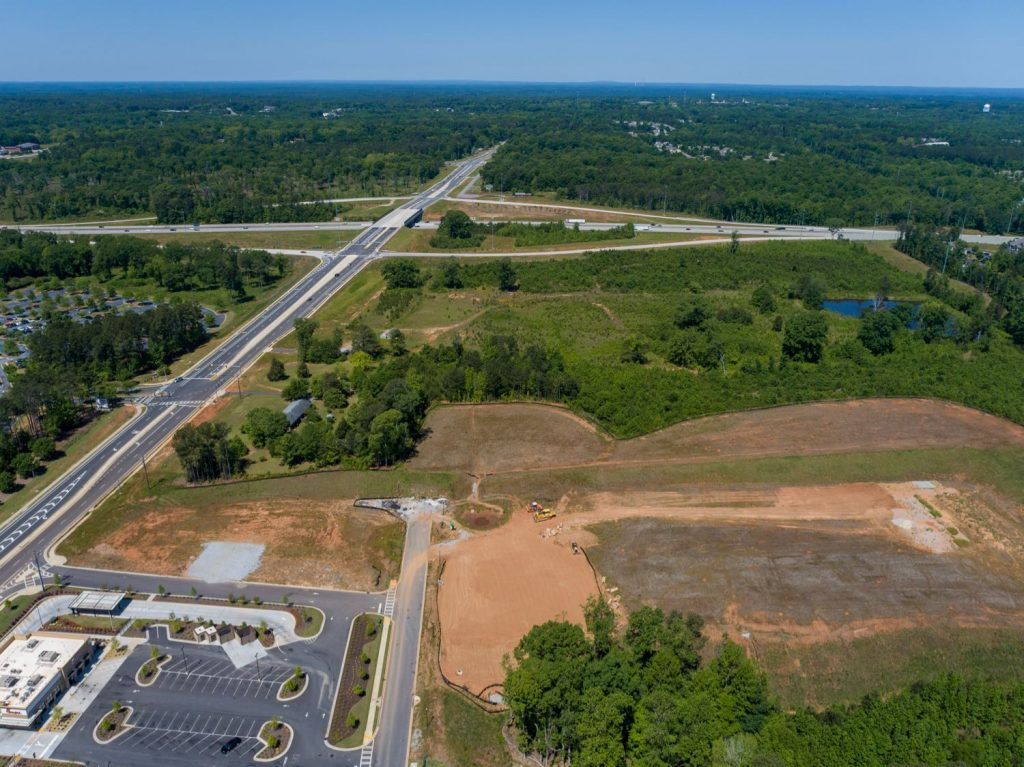 Aerial view of land for Mercantile Professional Park facing I-85 Exit 44 interchange in Newnan, GA.