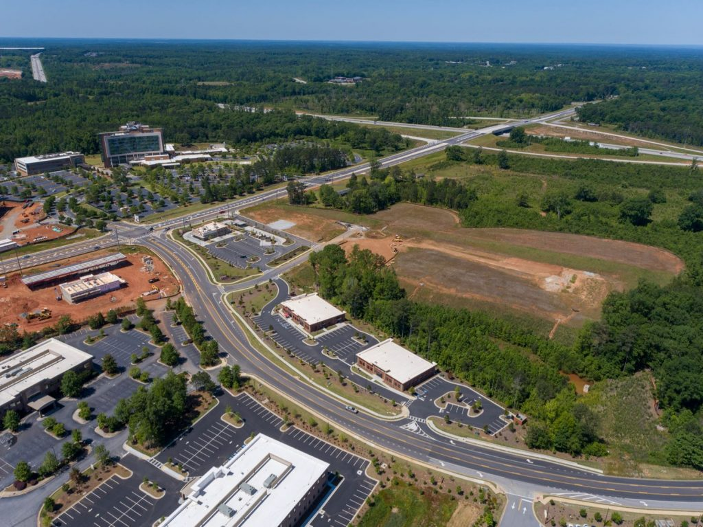 Aerial side view of land for Mercantile Professional Park facing I-85 Exit 44 interchange in Newnan, GA.