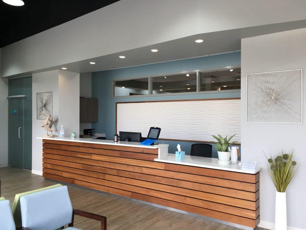 Interior check-in area in the Summit Urgent Care Peachtree City, GA location.