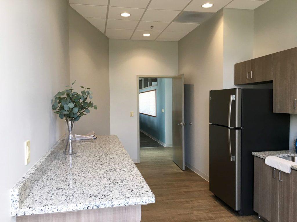 Interior break room in the Summit Urgent Care Peachtree City, GA location.