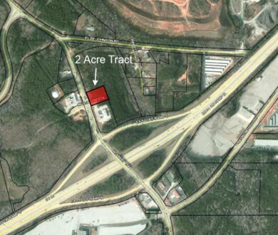 Aerial image of 2 acre tract for sale in Newnan, GA.