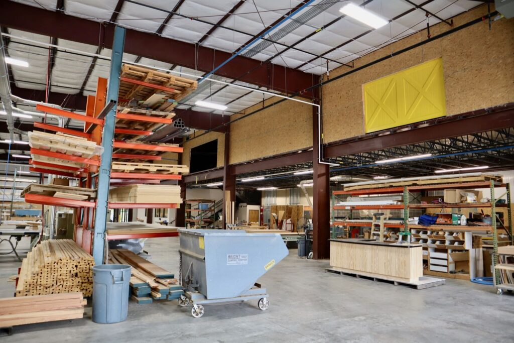 Interior photo of Champion Millworks shop in Peachtree City, GA.