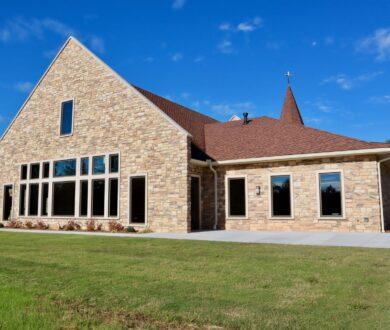 Exterior of Faith Lutheran Church Fellowship Hall in Sharpsburg, GA.