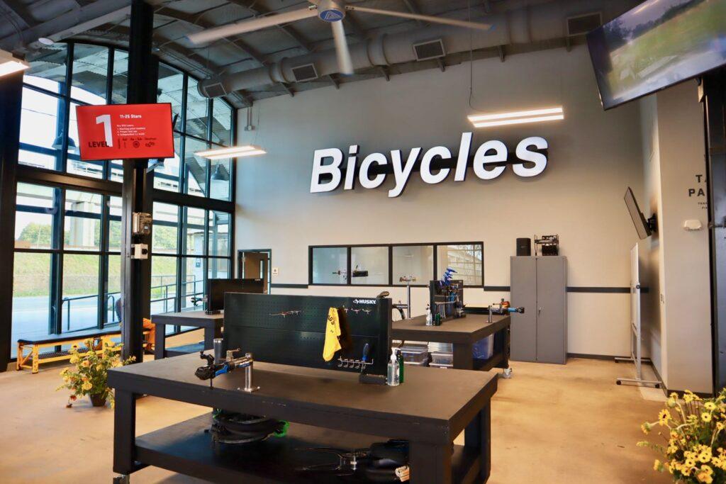 Interior of Bearings Bike Works in Atlanta, GA.