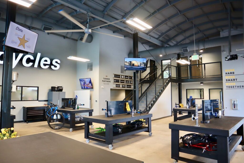 Interior image of Bearings Bike Works new programming space.