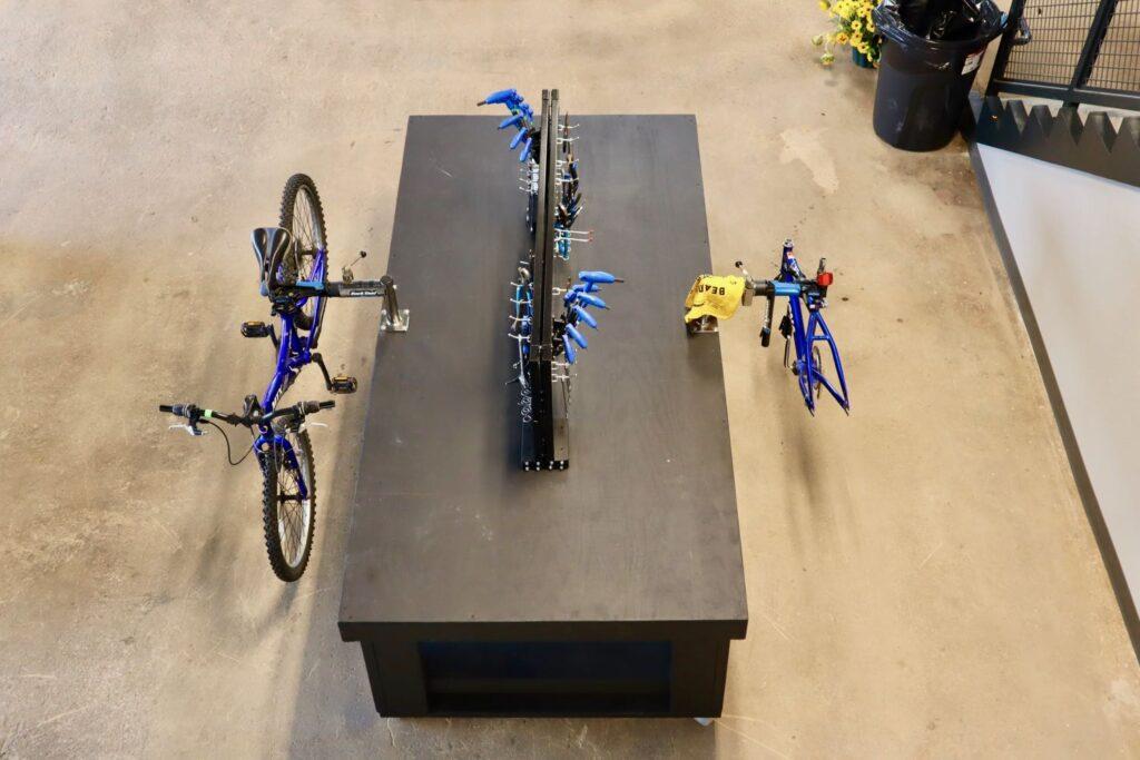 Interior of Bearings Bike Works bike repair station in Atlanta, GA.