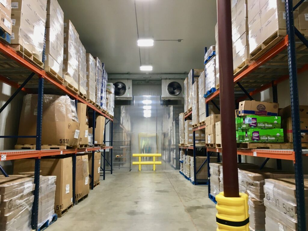 Interior of cold storage at Midwest Food Bank in Peachtree City GA.