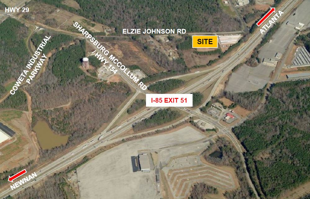 Aerial of site for North Coweta Business Park on Elzie Johnson Rd.