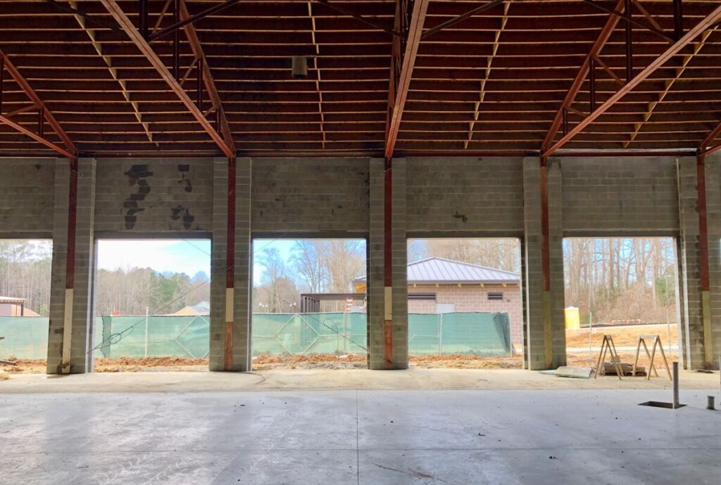 Interior of renovation occurring in the City of Fayetteville, GA for an Event Center.