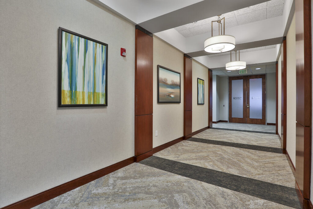 Interior hallway of the 500 Westpark Drive office building in Peachtree City, GA.