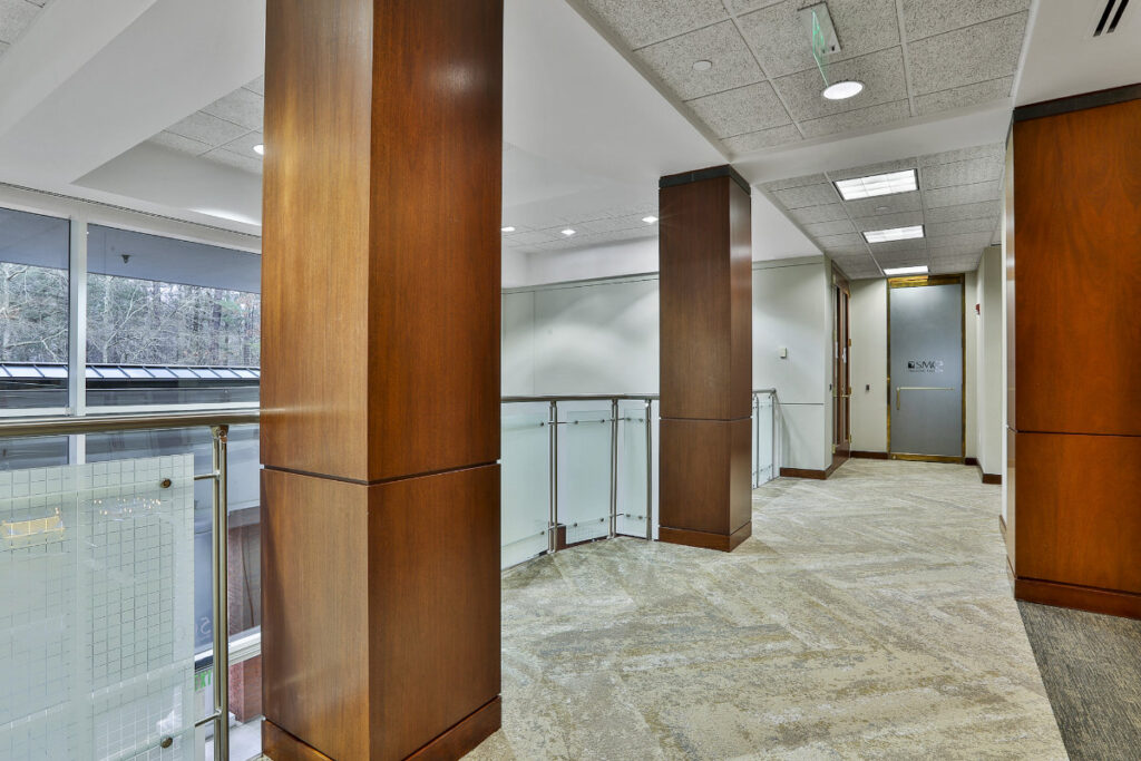 Interior common areas for the 500 Westpark Drive office building in Peachtree City, GA.