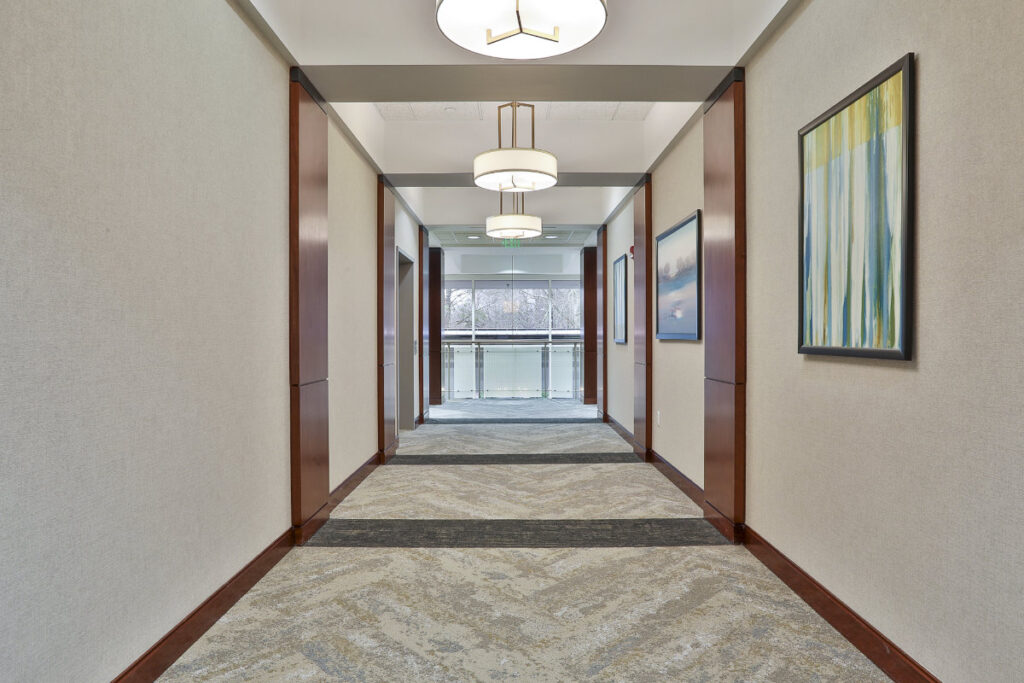 Interior hallway on second floor of the 500 Westpark Drive office building in Peachtree City, GA.