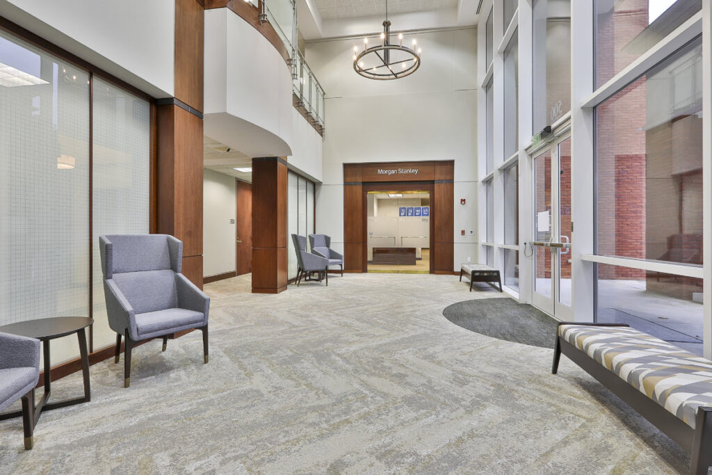 Interior lobby for the 500 Westpark Drive office building in Peachtree City, GA.