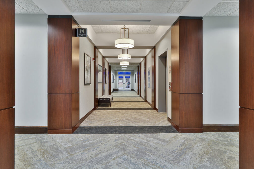 Interior hallway for the 500 Westpark Drive office building in Peachtree City, GA.